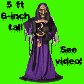 New Creepy Life Size Animated Speaking MATILDA WICKED WITCH with Scary BLACK CAT. Petting Arm Movement! Spooky Haunted House Cackling Voice Halloween Horror Prop Haunt Decoration. Gothic Talking Hag Deluxe Greeter Lighted Evil Sorceress Animatronics.