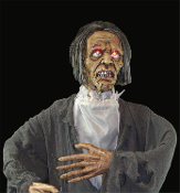 New Life-Size 5-ft 2 inch Walking Dead Gothic STANDING ZOMBIE GHOUL Halloween Haunt Horror Prop - Full-Size Stand-up Bartholomew Zombie Crypt Keeper Graveyard Caretaker. Post-Apocalyptic Corpse with Flashing Light-Up Eyes Living Dead Body Decoration