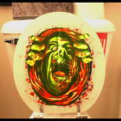 Look who's escaping his watery grave! QUICK... FLUSH!!! Bloody Horror ZOMBIE GHOUL MONSTER TOILET COVER Walking Dead Party Gothic Bathroom Decoration TOILET LID COVER Halloween Costume Party Prop Funny Gag Gift Haunted House Decoration Horror Decor