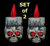5-inch Gothic Light Up LED SKULL CANDLE LAMP Flicker Bulb Halloween Prop Decor - Lighted Halloween Decoration Haunted House Costume Party Accessory - Just the right size for any spooky corner or creepy crypt!