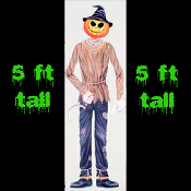 5-ft Life Size Jointed Halloween Prop-PUMPKIN HEAD SCARECROW-Cutout Costume Party Wall Door Window Decor Halloween Decoration