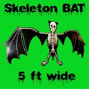 Gruesome Gothic 5-Feet Giant MUTANT SKULL SKELETON VAMPIRE BAT Jointed Cutout. 12-inch tall x 60-inch wide. Black and White colorful cardboard paper sectioned fold-out Halloween decoration looks super creepy above an entry door or window!