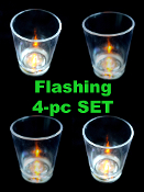 4pc SET-Tap Style-Blinking FLASHING LED LIGHT UP SHOT GLASSES Fun Party Dance Club Drinking Game - Luau, Fiesta, Birthday, New Year, Mardi Gras, St Patrick's Day, Holiday, Bachelorette, Club, Bar, Steampunk Old West, Western theme party