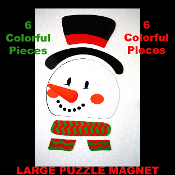 Refrigerator Locker Car Garage Door - FROSTY the SNOWMAN PUZZLE MAGNET SET - Novelty Theme Gift Holiday Party Decoration. Use on Refrigerator, File Cabinet, Metal Door, School Locker, Dishwasher, Car, Truck, most Smooth Metal Surfaces.