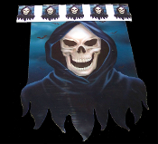 6-ft Gothic-GRIM REAPER SKELETON BANNER-Door Wall Border Horror Party Decoration