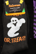 Gothic Novelty-GHOST TRICK TREAT SOCKS-BLACK WHITE-Women Sz 9-11 Punk Accessory