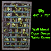 42-inch x 72-inch Plastic Black, White and Gray Color SKULL SKELETON DUNGEON PRISON JAIL BARS DOOR WALL WINDOW MURAL or TABLE CLOTH COVER Haunted House Decoration Halloween Party Decor Prop Accessory