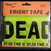 Gothic Skull-DEAD END-Fright Caution Tape-Halloween Party Decoration Prop-30ft-SLIME GREEN and BLACK