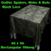 Gothic Black Bat-SPIDER WEB LACE TABLE CLOTH TOPPER 48 X 96-Halloween Decoration