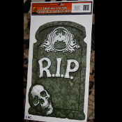 Horror Prop-R.I.P.TOMBSTONE SKULL-Floor Wall Grabber Cling-Halloween Party Decor