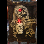 Gothic Decor Halloween Prop-HANGING LIGHT UP ZOMBIE SKELETON PORTRAIT-Costume Party Walking Dead Lighted Flicker Lamp Wall Decoration