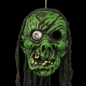 Life-Size Severed-GREEN GHOUL ZOMBIE HEAD-Walking Dead Prop Halloween Decoration