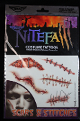 Realistic Zombie-TEMPORARY FAKE TATTOOS-Walking Dead Gory Horror Cheap Halloween Costume-SCARS and STITCHES-Gory Bloody Gross Special Effects Makeup