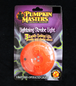 Spooky PUMPKIN MASTERS Flashing Lighted Pumpkin Jack-o-Lantern LIGHTNING STROBE LED Halloween Prop Building Light Effects Decoration-Display lite-up for animated and static props in haunted house, dungeon, graveyard, mad scientist laboratory, etc