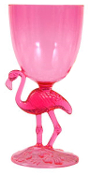NEW 10 oz Luau Cocktail Party PINK FLAMINGO DRINK GOBLET Wine Glass Drink Cup Tiki Bar Prop Decoration. 7-inch tall translucent acrylic plastic cocktail glass. Bright colorful transparent jewel-tone. Tropical Island Long-Legged Bird Beach Theme Decor