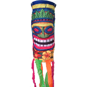 4 ft Tropical Island Scene Setter TIKI HEAD MASK GARDEN WINDSOCK Indoor Outdoor Luau Party Decoration Prop 48-inch long, 5-inch diameter hoop. Tiki Head 12-inch long. Poly Nylon, string hanger, metal hanging loop Bright Multi-Color PATIO WIND SOCK
