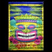 2ft Tropical Island Scene Setter Tribal Voodoo TIKI HEAD MASK GARDEN FLAG Hawaiian Tahitian-style decor. Indoor Outdoor Luau Party Window, Door, Wall Hanging Patio Decoration Prop, 24 x 18. Poly Nylon, string hanger. Bright Multi-Color Party Supplies