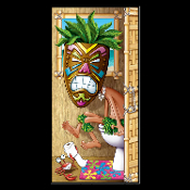 Funny Toilet Loo TIKI HEAD MASK on the POTTY BATHROOM DOOR COVER Shower Mural Restroom Wall Decor Create-a-Scene Setter decor for any tropical Hawaiian island Luau celebration or beach party. Whimsical gag gift Voodoo jungle native grimacing!