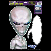 Car Window Mirror Cling Decal ALIEN BACKSEAT DRIVER with CARTOON SPEECH BUBBLE Funny X-Files Halloween Prop Decoration Birthday Party Supplies. Who's hitching a ride through the universe in your Martian spaceship backseat? Take me to your leader!