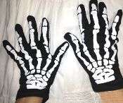 Gothic Punk SKELETON HAND BONES GLOVES Cosplay Steampunk Halloween Costume Accessories. Need a hand? You won't be breaking any anatomy body parts. Black with a boney x-ray structure printed in white. Scary ghostly adult goth horror costume accessory.