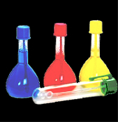 4pc Mini Toy Mad Scientist Lab Halloween Prop Chemistry Laboratory Color Mix Bubbles Experiment Set. Mad Doctor Science Lab with 3 pretend play miniature plastic flasks, 1 mixing test tube vial w-clip cap bubble wand-Red, yellow, blue colored bubbles