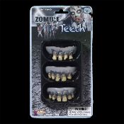 Walking Undead Zombie Halloween Costume ROTTED TEETH Adult Makeup Accessories Prop 3pc. Ghoulish flesh chomping decayed tooth fake monster dentures. Time for zombies to to see the dentist. Disgustingly gross grey brown rotting teeth. Must Eat BRAINS!