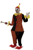 HONKY THE CLOWN ANIMATED Horror Halloween Prop Decoration-6-ft Evil character in orange and black costume, yellow satin ruffle collar and cuffs, oversize shoes, latex head, red LED eyes, short stringy hair, roto-PVC hands, plastic horn, matching hat