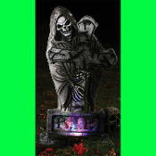 TOMBSTONE GOTHIC 24in LIGHT UP REAPER Halloween Prop Lawn Yard Cemetery Graveyard Crypt Decoration - 24-inch light-up tombstone has a reaper figure. Batteries not included.