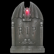 Creepy Realistic RIP TOMBSTONE LITE UP WINGED GARGOYLE Spooky Gothic Lighted Graveyard Cemetery Grave Marker Crypt Head Stone Halloween Haunted House Yard Prop Building Decoration-Fake Weathered Tomb Stone-TWO FEET TALL