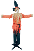 STANDING SCARECROW with MOVING HEAD Animated Halloween Horror Prop - 6 feet tall Scarecrow with flashing eyes and moving mouth as it makes scary sounding Halloween moans and groans. Features posable arms. Sound activated. Battery operated.