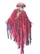 PIRATE HANGING 63-inch Haunted House Prop Halloween Decoration - Hard foam skull and hands, cloth draped suit makes up body from chest down, green hemp type hair and matching pirate hat with foam skull and crossbones. Adjustable arms and rope hanger
