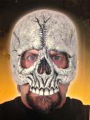 Chinless Deluxe Over Head Topper Horror SKELETON SKULL HALF MASK Monster Halloween Party Cosplay Costume Accessory. Scary design changes your appearance without extensive make-up or prosthetics. Great addition to a Grim Reaper Angel of Death costume.
