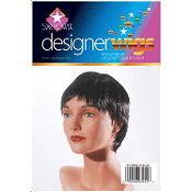 Diva Short BLACK PUNK PIXIE WIG Lolita Gothic Cosplay Halloween Costume Accessory. Straight Style Glamour Movie Pop Star. Soft, wispy-layered cut, face-framing bangs, some nape coverage. Fancy Dress-up Funky Accessories for any aspiring celebrity!