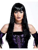 Gothic Long BLACK GLITSY GLAMOUR WIG Sexy Gothic Diva Lolita Punk Rockabilly Cosplay Halloween Costume Accessory. Straight ROCK STAR, face framing bangs. Glittery tinsel strands for a touch of evil! Funky witch, wizard, vampire, pop singing icon!