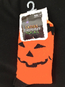 Fun Novelty Spooky Halloween Costume PUMPKIN BOO CREW SOCKS-Jack-O-Lantern Accessory. Bright Orange and Black PUMPKIN Glitter Jack-O-Lantern HALLOWEEN COSTUME SOCKS. NEW Holiday Clothing Accessory Orange, Black, Yellow. Adult sock sz 9-11.