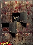 Giant 4x5 MORGUE WALL GORE DECOR Halloween Haunted House Scene Setter. CSI Dexter Walking Dead theme inspired. Realistic highly detailed image depicts a bloody dead body storage facility with open drawers revealing a toe tagged corpse and brain.