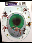 Realistic Horror Prop Creepy Tarantula TOXIC SPIDERS ARACHNOPHOBIA TOILET TOPPER Restroom Tattoo Cling Sticker Grabber Decal Bathroom Halloween Decoration-Witchcraft voodoo abandoned haunted house movie theater stage create a scene setter.