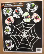 Scary Gothic Horror Prop Creepy Tarantula Glitter ARACHNOPHOBIA SPIDERS WEB WINDOW CLINGS Refrigerator Mirror Sticker Grabber Decal Halloween Decorations-9pc Set-Witchcraft haunted house create a scene setter.