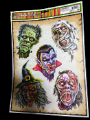 5-pc MONSTER HEADS-Mummy, Vampire, Frankenstein, Witch, Zombie-Scary Gothic Horror Prop CREEPY WINDOW CLING Glass Door Décor Mirror Decal Refrigerator Sticker Toilet Tattoo Party Room Haunted House Halloween Decoration Joke Prank Gag Gift