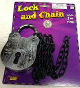 Steampunk Cosplay Costume Accessory JUMBO LOCK CHAIN Dungeon Prisoner Inmate Jail Halloween Prop. Fun realistic metallic plastic set decoration for witch trials, haunted house scene, graveyard cemetery, bachelor or bachelorette party gag gift.