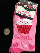 HOT PINK RED WHITE HEARTS CUPCAKE SWEETIE RETRO CREW SOCKS. Cute Punk Valentine Funky Cosplay Costume Novelty Print Rockabilly Lolita. Womens One-Size Holiday Love-theme Apparel Accessory. Team sports, soccer, futbol, volleyball, cheerleading gifts.