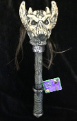 Gothic Wicked Viking Zombie Hunter Prop Weapon WARRIOR DEMON SKULL STAFF CLUB SCEPTER Medieval Barbarian Warlord Sorcerer Halloween Cosplay Costume Accessory. Creepy aged ancient Mongol artifact style toy for Evil Knight, Voodoo Witch Doctor, Wizard.