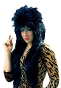 Funky Long Spiked Unisex BLACK PUNK ROCKER WIG Cool Biker Diva Rockabilly Gothic EMO Elvira Cosplay Halloween Costume Accessory. Straight Retro Pop Rock Star. Crazy mullet layered head banger style. Heavy metal music icon fancy dress. Men or Women!