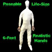 Cheap Halloween Prop Building LIFE SIZE POSEABLE DUMMY MANNEQUIN DOLL Posable Soft Stuffed Adult Man Dummies Horror Dead Body Cosplay Costume Clothing Apparel Display Accessory Haunted House Dead Bodies with REALISTIC HUMAN HANDS - Six Feet Tall