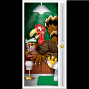 Funny POOPING TINKLING TURKEY RESTROOM DOOR COVER Toilet Loo Bathroom Shower Mural Wall Scene Setter. Hysterical party banquet event decoration! Whimsical gag gift colorful mural traditional cartoon holiday bird reading while sitting on the potty!