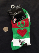 Novelty PEACE LOVE REINDEER CREW SOCKS Fun Holiday Clothing Apparel Christmas Costume Accessory-Unisex Adult Women Boys Girls- Red, White, Green Stripes Stockings. UNISEX (Women's Size 9-11) Cute Secret Santa Gift!