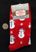 Winter Holiday Novelty-SNOWMAN SNOWFLAKE-CREW SOCKS-Fun Christmas Stockings Stuffer Gift Clothing Accessory-sz 9-11