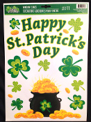 Lucky Irish POT-O-GOLD SHAMROCKS CLINGS SHEET Novelty Happy St Patrick's Day Theme Holiday Gift Party Decoration. Use on Windows, Mirrors, Refrigerator, Dishwasher... most Smooth Non-Porous Surfaces. Cute colorful festive decor, fun for all!