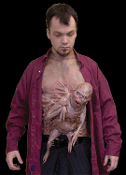 Realistic Mutant Freak LITTLE BROTHER CHEST PIECE Creepy Deluxe Cosplay Halloween Costume Accessory Masquerade Deformed Latex Mask Scary Total Recall inspired Horror Prop Funny Prank Joke Gag-Deformed carnival alien fetus attaches with Velcro straps.