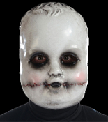 Smiling Sammie creepy realistic mask features the face of a spooky Dreadful Doll with death pallor. This scary mask is a great Halloween prop just hanging on the wall – add a glow stick behind the eyes for extra creepiness! Adult size molded plastic.